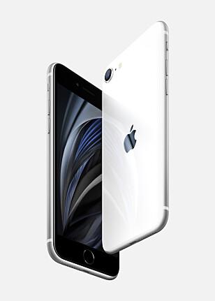 INGEN LYDUTGANG: Skal du koble til hodetelefoner, må du bruke Lightning-pluggen eller et trådløst alternativ på nye iPhone SE. Foto: Apple