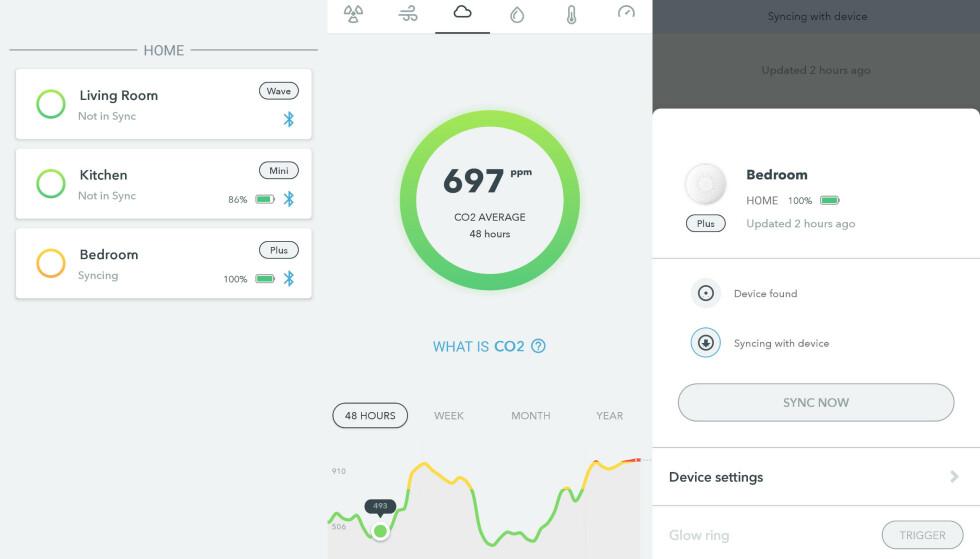I Airthings-appen kan man enkelt se oversikt over luftkvaliteten og statistikk for døgn/uke/måned/år.