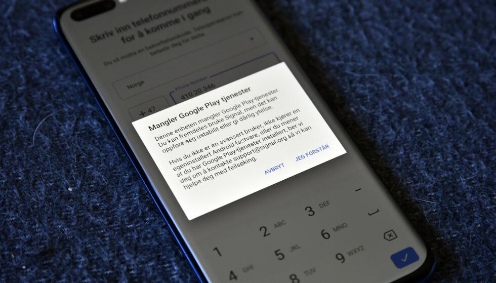 Fra Signal får vi beskjed om at appen kan oppføre seg ustabilt og gi dårlig ytelse uten Google play-tjenester. Foto: Pål Joakim Pollen