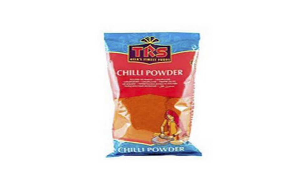 Oslo 20200423.  Importøren Noramix Import AS trekker tilbake chili pulver, 400 g pose, fra England/India av merket TRS. Årsaken er at produktet mangler merking på skandinavisk språk om at det ikke skal konsumeres ukokt. Foto: Mattilsynet / NTB scanpix
