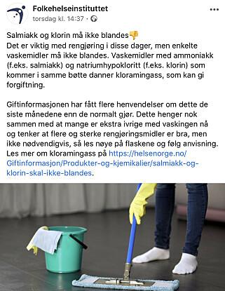 FHI advarer via sine Facebook-sider. Foto: Skjermdump