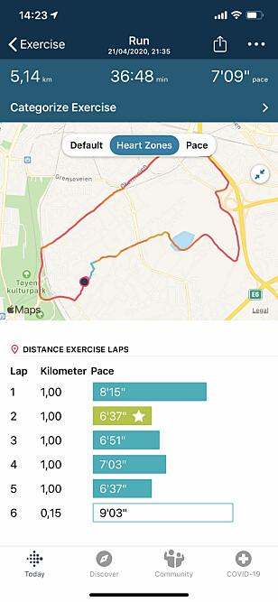 MER NØYAKTIG: Med GPS i bruk under løpeturer, skal du få en mer nøyaktig måling av avstanden. Skjermbilde: Kirsti Østvang