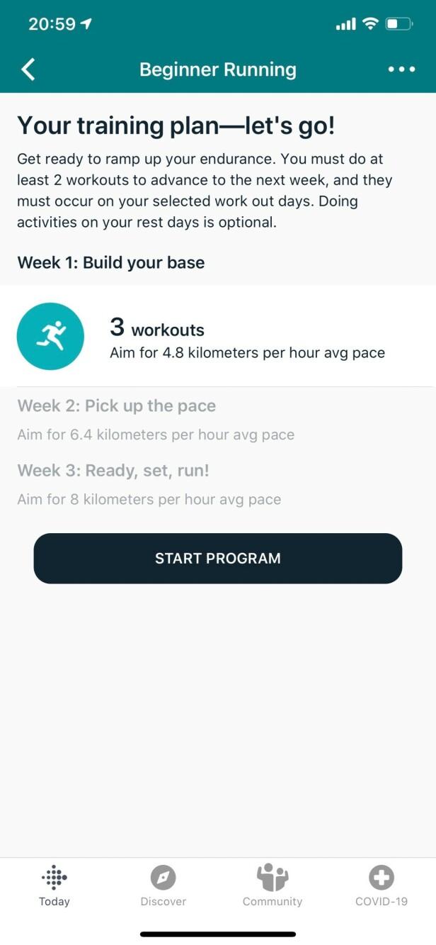 KOM I GANG MED LØPING: I Fitbits Premium-tjeneste kan du få hjelp til å sette opp en løpeplan. Skjermbilde: Kirsti Østvang