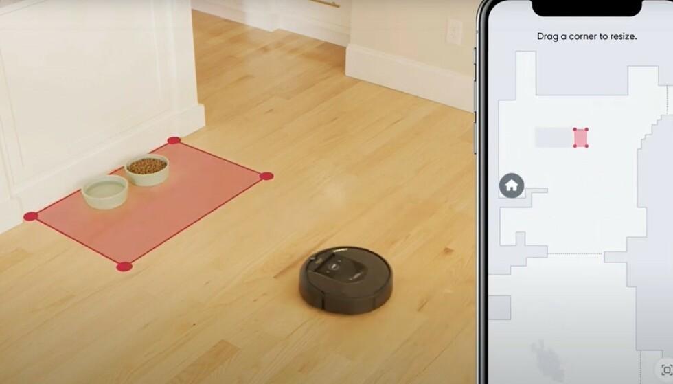 SMART: Ved hjelp av appen kan du markere områder i7 skal unngå å støvsuge. Du kan også gi rommene navn og stille inn at klokka 15 skal kjøkkenet støvsuges.