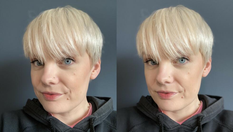 Frontkamera i portrettmodus: iPhone SE til venstre, iPhone 11 Pro Max til høyre.
