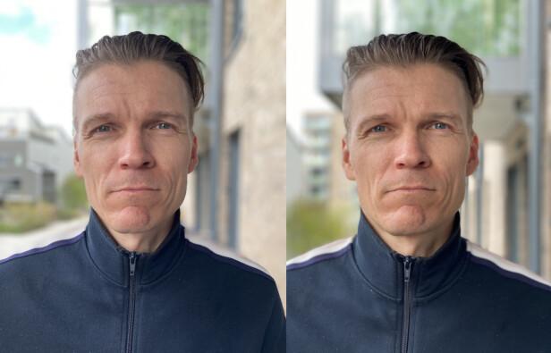 Portrettmodus tatt med henholdsvis iPhone SE og iPhone 11 Pro Max.