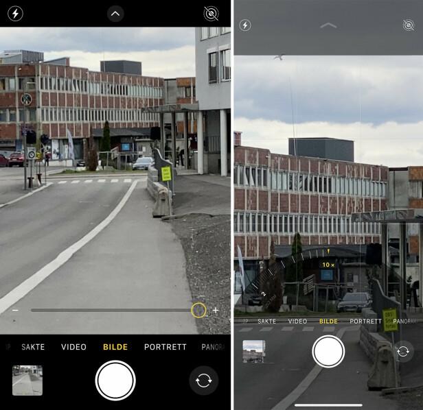 IKKE LIKE AVANSERT: På skjermbildet til venstre kan du se kameragrensesnittet når du zoomer med iPhone SE. Høyre er iPhone 11 Pro Max.