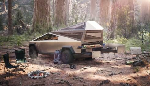 CAMPINGTUR: En perfekt bil for camping? Det eneste problemet er at det forbudt å kjøre ut i terrenget med slike biler i Norge. Foto: Tesla