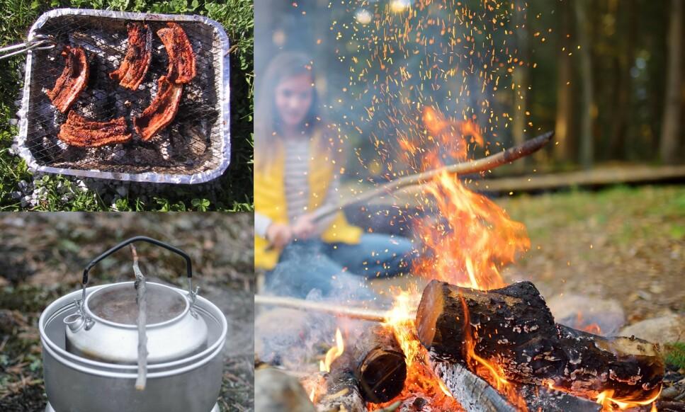 <strong>FYRES OPP:</strong> Engangsgrill, stormkjøkken og bål blir brukt til å lage mat ute, men du må overholde reglene for trygg bruk. Foto: Shutterstock/NTB Scanpix.