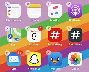 VÆR BRUTAL: Apper du aldri bruker, har ingenting på mobilen din å gjøre. Sett hjemskjermen i redigeringsmodus og slett i vei! Skjermbilde: Kirsti Østvang