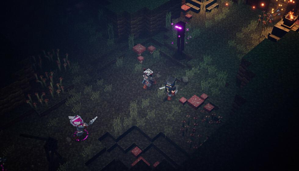 MINECRAFT DUNGEONS: Du kommer ikke utenom, Enderman er også på plass i dette Minecraft-spillet. Foto: Xbox Game Studios