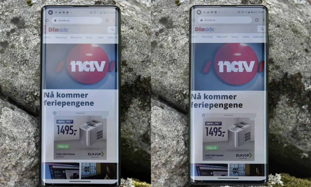 TREKK INN: Ved å dobbeltprikke på skjermkanten, tilpasset innholdet slik at det ikke «renne over» slik det gjør på det høyre bildet. Foto: Pål Joakim Pollen