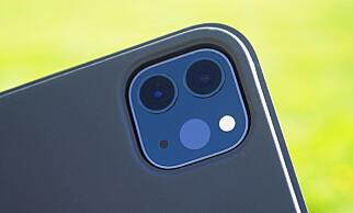 NYTT: Den mest merkbare nyheten med årets iPad Pro er det nye kamerasystemet på baksiden. Her sitter det to kameraer og en såkalt lidar-skanner. Foto: Kirsti Østvang