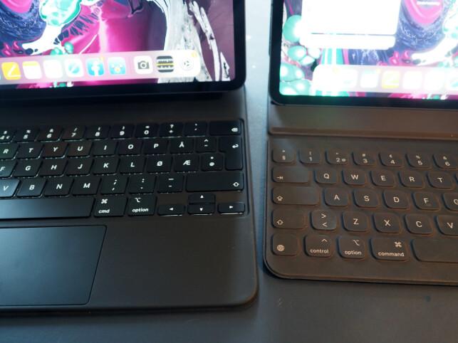 LYSER OPP: Tastene på Magic Keyboard (til venstre) er bakbelyste. Til høyre ser du gamle Smart Folio Keyboard hvor tastene er dekket i et kanvas-lignende stoff uten noen åpninger. Foto: Kirsti Østvang