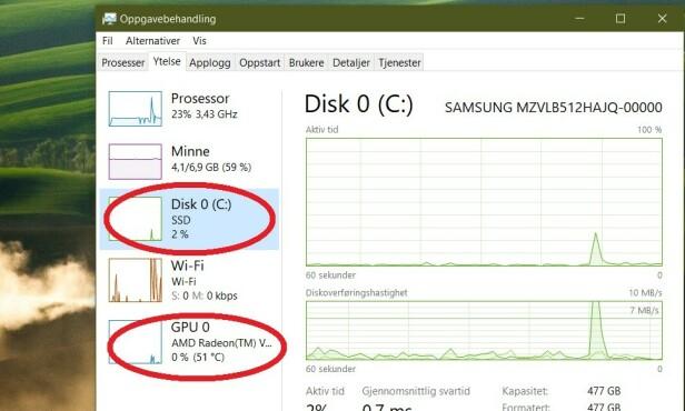 OPPGAVEHAnDLING: Se lagringstype og temperaturen på grafikkortet ditt. Foto: Skjermdump