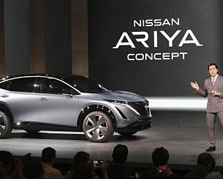 DEN GANG DA: Konseptbilen Nissan Ariya ble første gang vist på bilmessa i Toyko, 23 oktober 2019. Nå er elbilen snart produksjonsklar. Foto: AP Photo/Koji Sasahara
