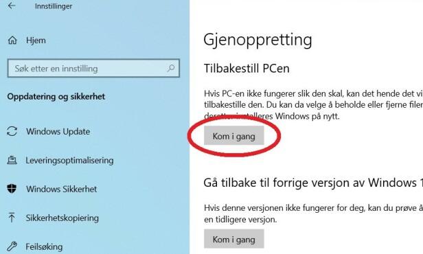 Guide: Slik gjenoppretter du Windows 10 fra skyen