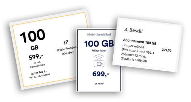 Både Telia, Talkmore og Ice tar over 500 kroner måneden for 100 gigabyte med mobilt bredbånd. Montasje: Pål Joakim Pollen
