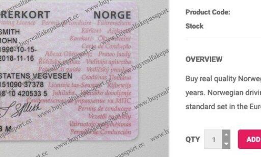 image: Selger falske norske førerkort for 2.600 kroner
