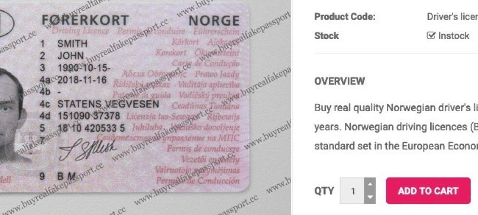Selger falske norske førerkort for 2.600 kroner