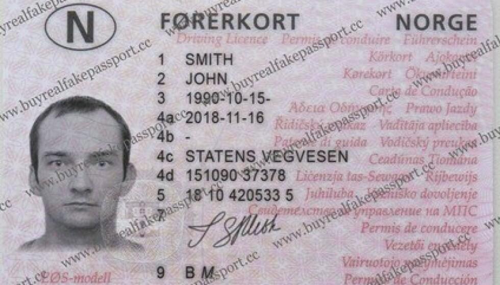 BLIR REGISTRERT: Firmaet vi har vært i kontakt med, hevder at det ny , falske førerkortet blir registrert i offisielle databaser i Norge.