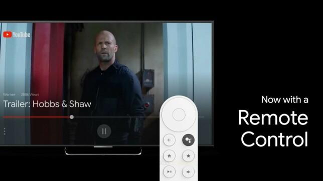 FJERNKONTROLL: Dette ser ut til å være fjernkontrollen som følger med når du kjøper den neste Chromecast-enheten, som kanskje får et helt annet navn. Foto: XDA Developers