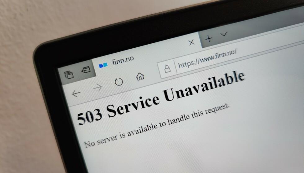 NEDE FOR TELLING: Finn.no opplever nettverksproblemer onsdag ettermiddag. Foto: Martin Kynningsrud Størbu