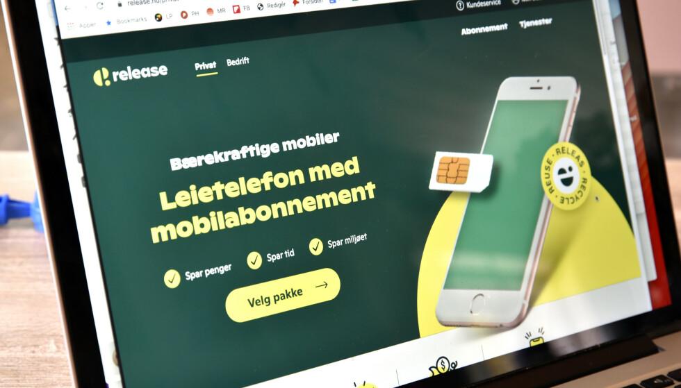 TELEFONUTLEIE: Release er et nyoppstartet mobilselskap som i tillegg til abonnement tilbyr deg å leie en brukt telefon. Foto: Pål Joakim Pollen