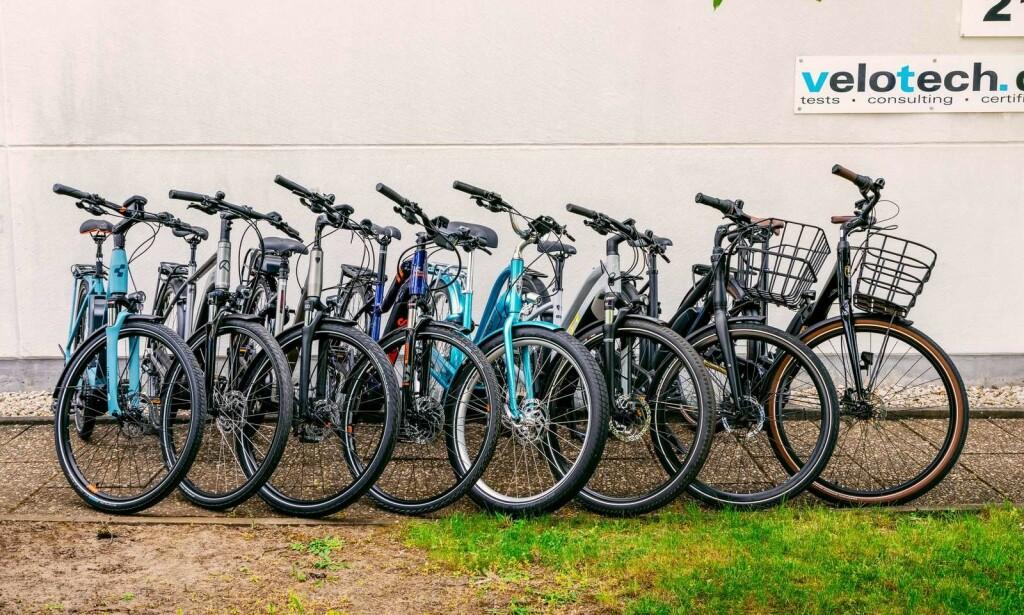 De åtte elsyklene Naf og Testfakta har testet. Foto: Naf