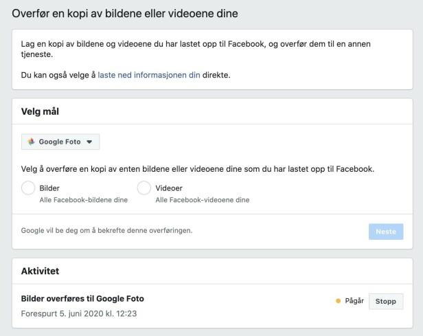 Overfør Facebook-bildene til Google Foto