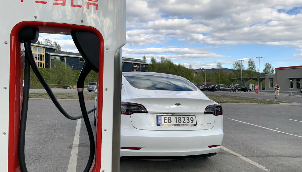 HALV PRIS: På tre av dagene i den kommende vinterferien vil Tesla teste ut halv pris på hurtigladerne sine. Foto: Øystein B. Fossum