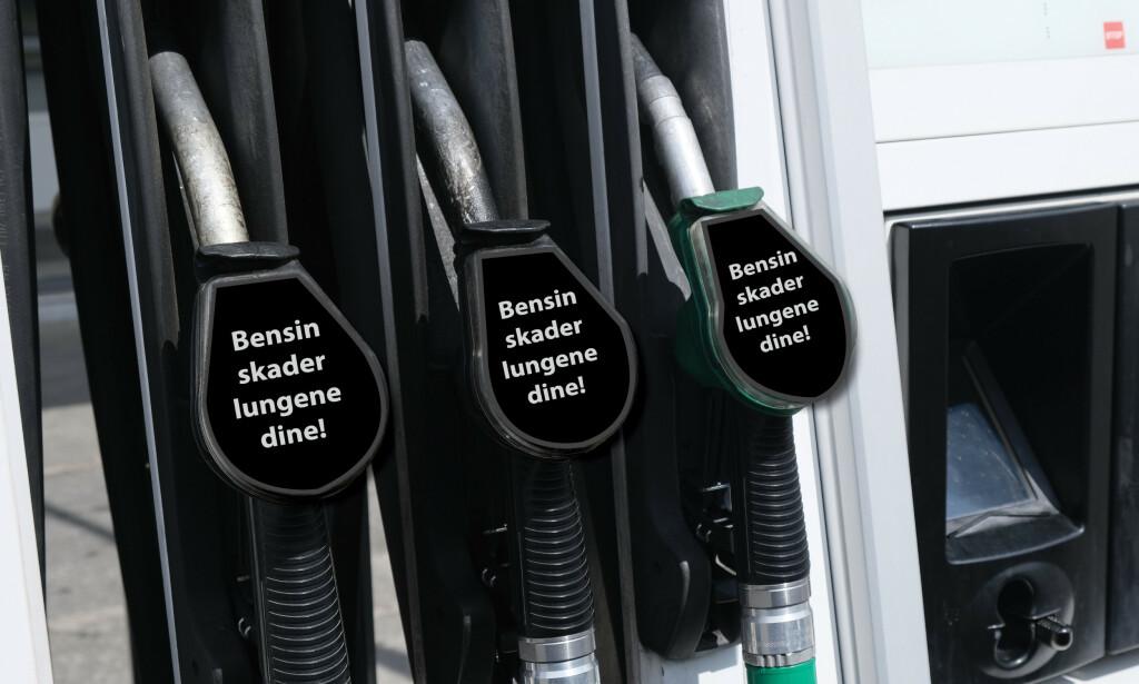 FARLIG: Forskerne mener det er på høy tid at også bensin- og dieselpumpene får samme advarsler om helseskader og tidlig død som sigarettpakker og snus. Illustrasjon: Rune Korsvoll