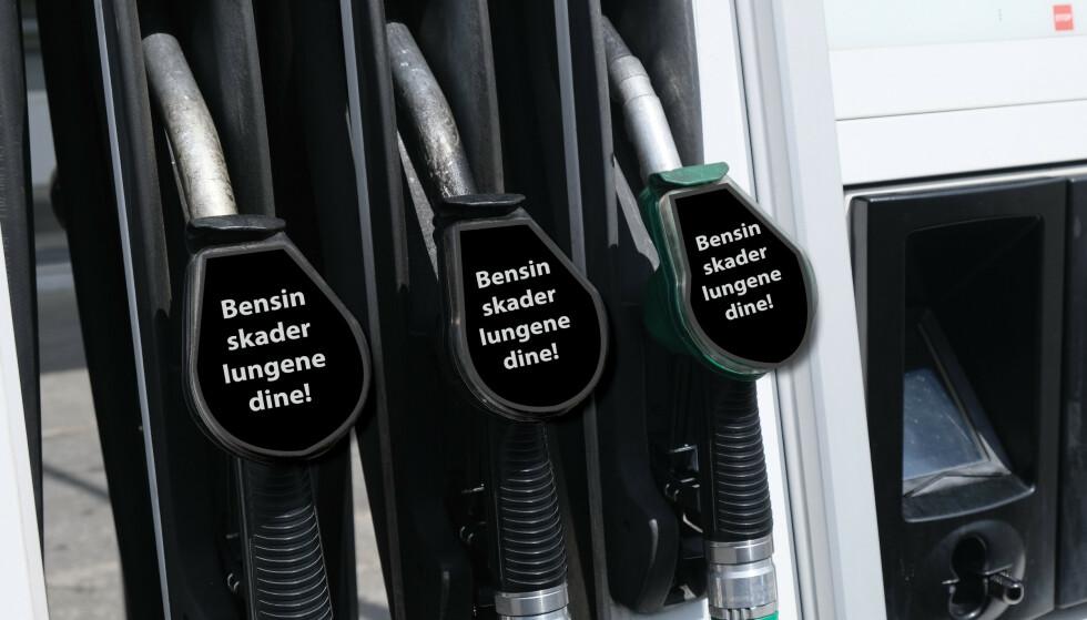 <strong>FARLIG:</strong> Forskerne mener det er på høy tid at også bensin- og dieselpumpene får samme advarsler om helseskader og tidlig død som sigarettpakker og snus. Illustrasjon: Rune Korsvoll