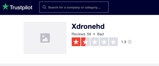 97 prosent av Trustpilots brukere har gitt X Drone HD bunnkarakteren én av fem stjerner.