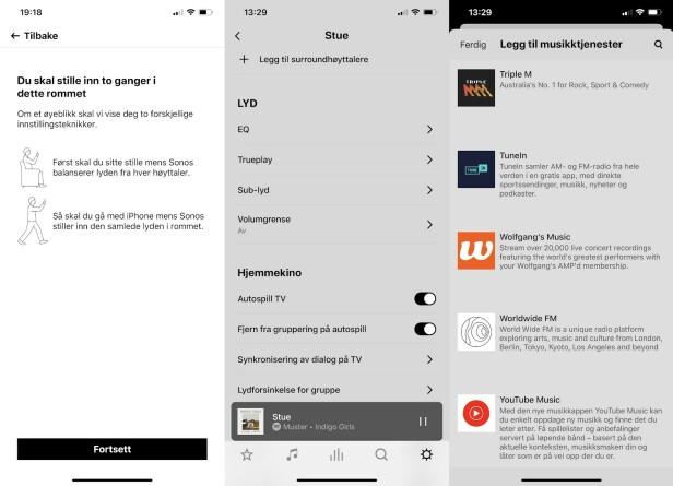 <strong>GOD APP PÅ NORSK:</strong> Oppsett og styring via appen er noe Sonos alltid har vært god på. Lista over musikktjenester du kan bruke Arc mot, er imponerende lang! (Skjermdumper)