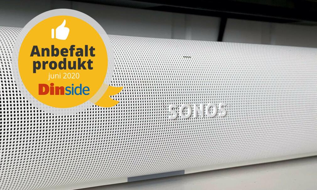 TERNINGKAST 5: Sonos nye Arc leverer solid på det meste og blir kronet med terningkast fem og anbefalt-stempel. Men du trenger en tilleggsmodul for full valuta for investeringen, mener vi. Foto: Bjørn Eirik Loftås