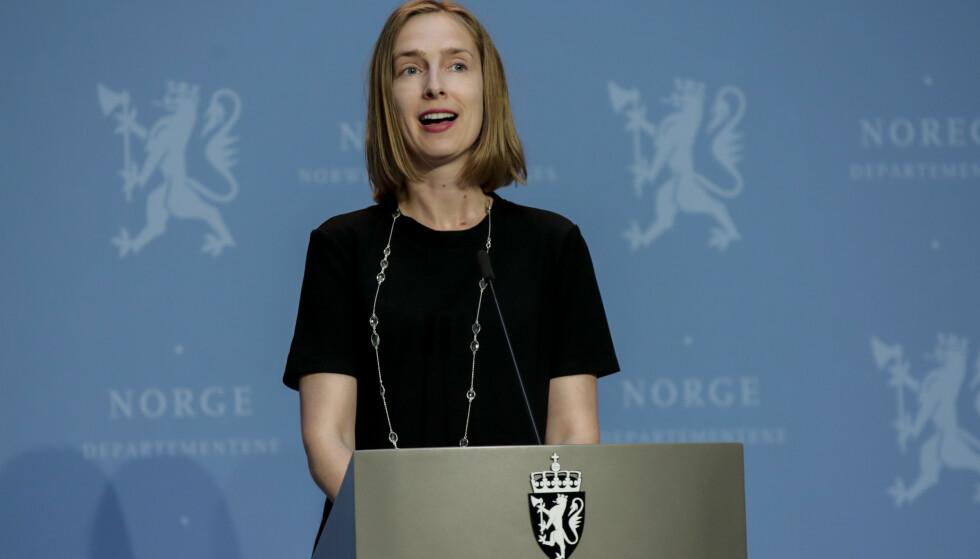 <strong>AVBESTILTE REISER:</strong> Næringsminister Iselin Nybø (V) i en tidligere pressekonferanse i forbindelse med coronasituasjonen. Foto: Vidar Ruud / NTB scanpix