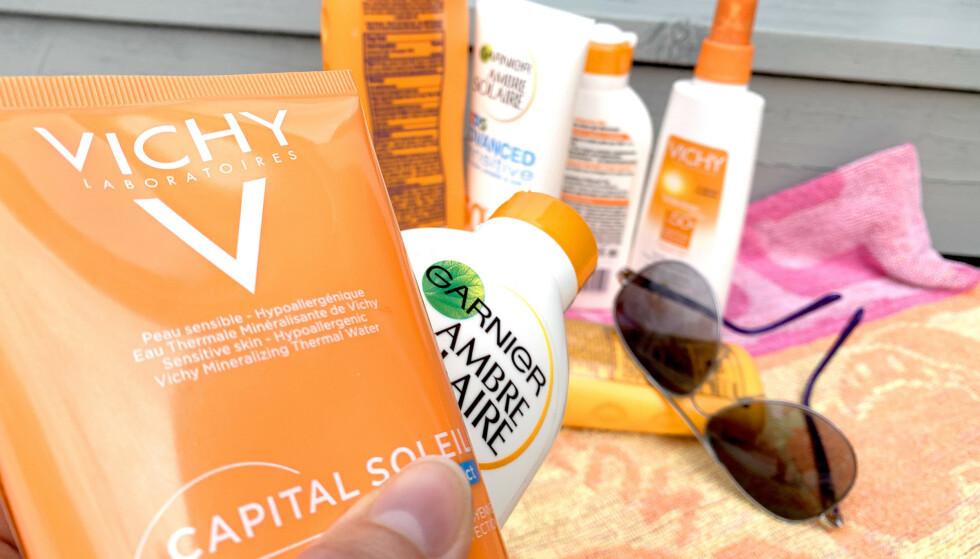 SOLKREM TEST: 16 av 36 solkremer inneholder uønskede stoffer som kan være skadelige for miljø og helse, ifølge en test fra det danske forbrukerrådet Tænk. Kosmetikkbransjen understreker at produsentene forholder seg til regelverket. Foto: Kristin Sørdal
