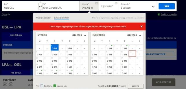 FLYR SØROVER: SAS har noen flyvninger til Kanariøyene i juli. Foto: skjermdump.