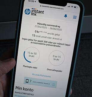 <strong>SJEKK SAMMENDRAGET:</strong> Fra HP Smart-appen kan du følge med på forbruket ditt. Her kan du også se hvor mange gratisbilder du har skrevet ut fra mobilen. Foto: Kirsti Østvang