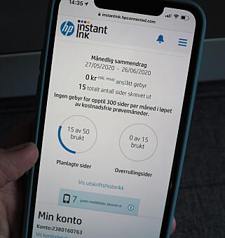 SJEKK SAMMENDRAGET: Fra HP Smart-appen kan du følge med på forbruket ditt. Her kan du også se hvor mange gratisbilder du har skrevet ut fra mobilen. Foto: Kirsti Østvang