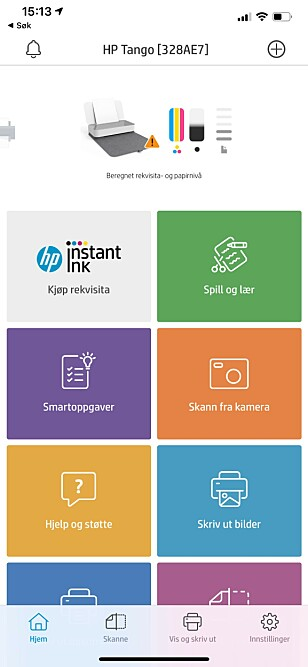 <strong>FIN APP:</strong> HP Smart-appen er pen og oversiktlig, om enn til tider litt treg å navigere i. Skjermbilde: Kirsti Østvang