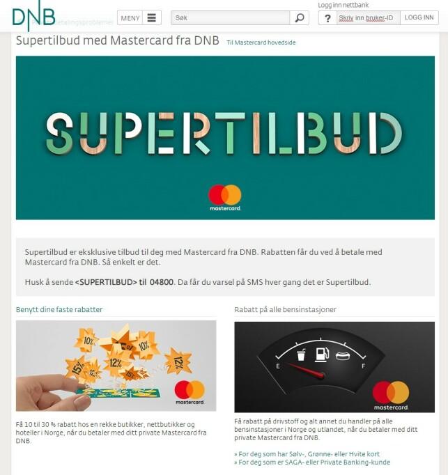 GJØR KREDITTKJØP BILLIGERE: DNB markedsfører rabattene sine knyttet til kredittkort som «supertilbud», men det er uenighet om hvor supre de egentlig er. Foto: skjermdump.