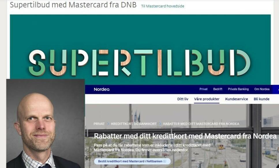 KREDITTRABATT: DNB og Nordea, blant andre, gir Mastercard-kundene sine mulighet til å handle med rabatt. Forbrukerrådet og Luksusfellen-ekspert er skeptiske til slik praksis. Foto: Terje Bendiksby/NTB Scanpix og skjermdump.