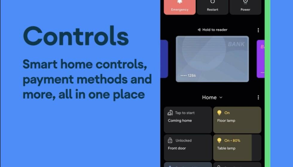 Det nye kontrollpanelet er tilgjengelig ved å holde power-knappen inne. Foto: Google