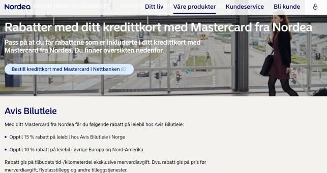 REISERABATT: Nordea gir også kredittkortrabatter, men da hovedsakelig knyttet til reise, som prosenter på leiebil. Foto: skjermdump.