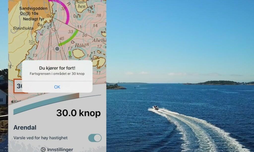 RO NED: En ny app fra Kystverket skal gjøre det enklere for båtfolk å følge fartsgrensene. Kjører du for fort, får du et varsel på telefonen. Foto: Kystverket
