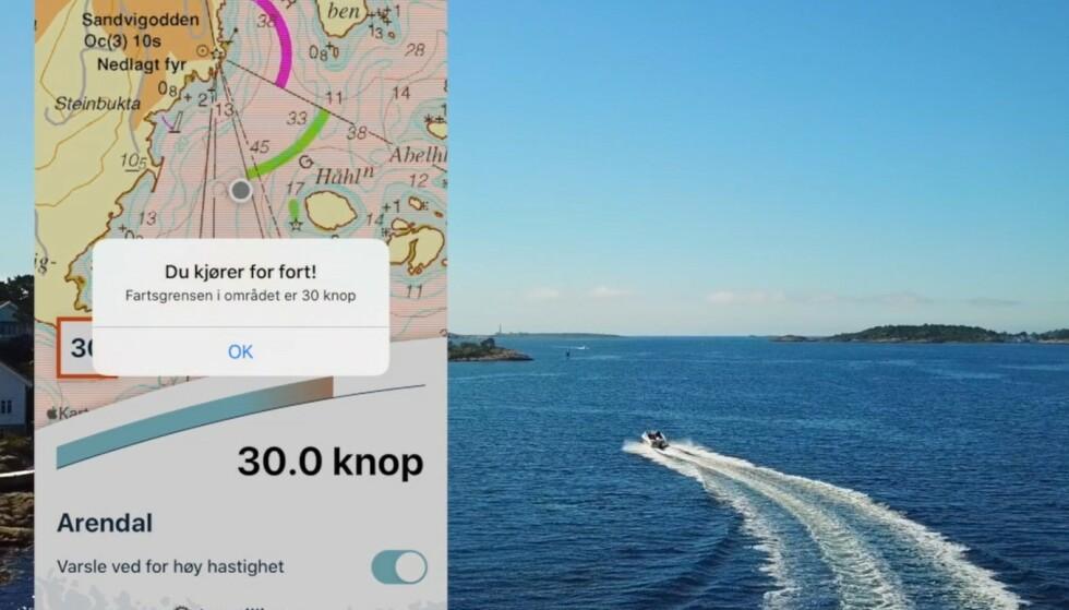 <strong>RO NED:</strong> En ny app fra Kystverket skal gjøre det enklere for båtfolk å følge fartsgrensene. Kjører du for fort, får du et varsel på telefonen. Foto: Kystverket