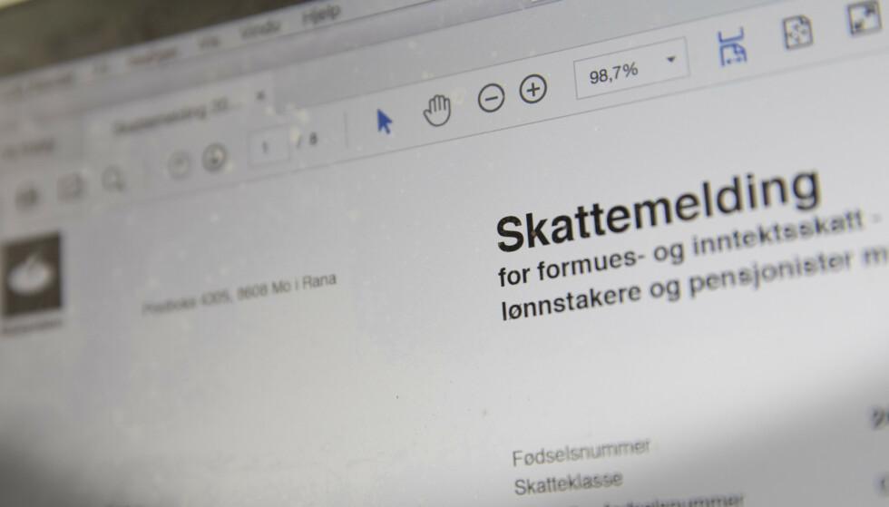 SKATTEMELDINGEN: Tilsynet for universell utforming av IKT har avdekket flere avvik i skattemeldingen og har bedt Skatteetaten om å rydde opp. Foto: Terje Bendiksby / NTB