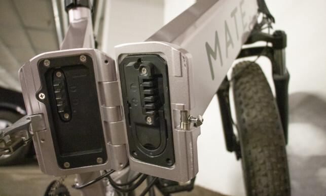 Batteripakka er montert i ramma. Det kan lades rett i sykkelen, eller tas ut for ekstern lading. Foto: Martin Kynningsrud Størbu